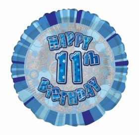Blue Age 11 Prismatic Foil Balloon 18''