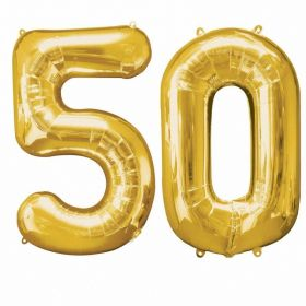Number Bunch 50 Supershape Gold Foil Balloon