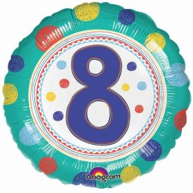 SpotOn 8th Happy Birthday Standard Foil Balloons