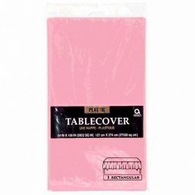 Baby Pink Rectangular Plastic Tablecover