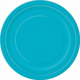 "Caribbean Teal Solid Round 9"" Dinner Plates, pk16"