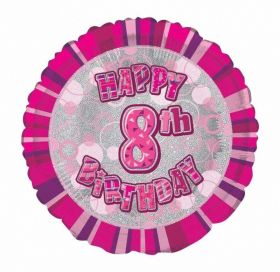 Pink Age 8 Prismatic Foil Balloon 18''