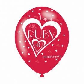 "Ruby 40th Anniversary Latex Balloons 11""/27.5cm, pk6"