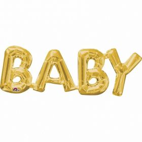 ''Baby'' Phrase Gold Supershape Foil Balloon
