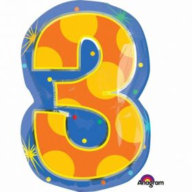 Confetti Dots Number 3 Junior Shape Foil Balloon