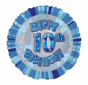 Blue Age 10 Prismatic Foil Balloon 18''