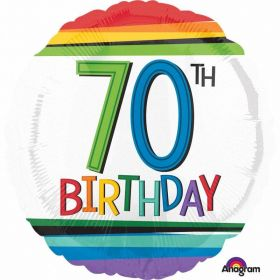 Rainbow Birthday 70th Standard Foil Balloons