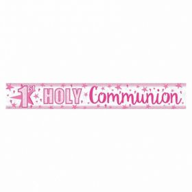 First Communion Holographic Pink Banner 2.7m