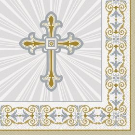Gold & Silver Radiant Cross Communion Lunch Napkins, pk16