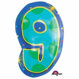 Confetti Dots Number 9 Junior Shape Foil Balloon