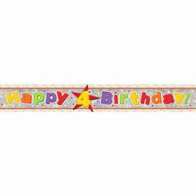 Happy 4th Birthday Holographic Foil Banner 2.7m