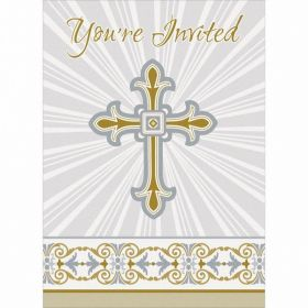 Gold & Silver Radiant Cross Invitations, pk8