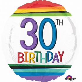 Rainbow Birthday 30th Standard Foil Balloon