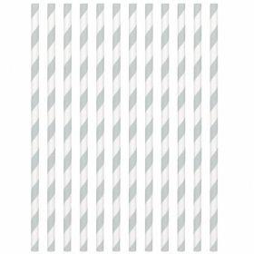 Silver Paper Straws, pk24