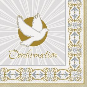 Gold & Silver Radiant Cross Confirmation Lunch Napkins, pk16