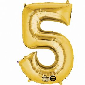 "Number 5 Gold SuperShape Foil Balloon 21""/53cm x 34""/86cm"