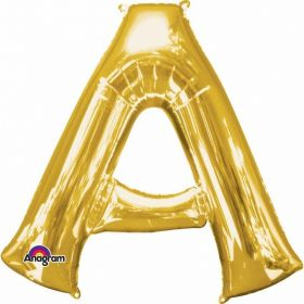 Letter A Supershape Gold Foil Balloon