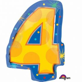 Confetti Dots Number 4 Junior Shape Foil Balloons