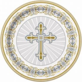 "Gold & Silver Radiant Cross 9"" Plates, pk8"