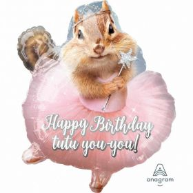 Avanti Happy Birthday Ballerina Chipmunk Junior Shape Foil Balloons