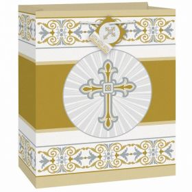 Gold & Silver Radiant Cross Giftbag-Medium