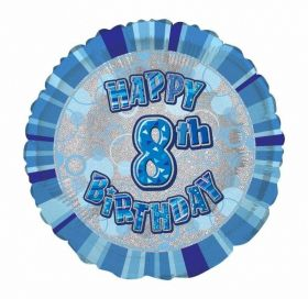 Blue Age 8 Prismatic Foil Balloon 18''