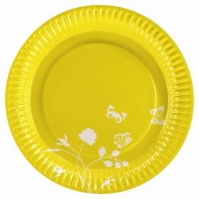 Yellow Party Paper Plates, pk8
