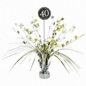 Gold & Silver Sparkling Celebration 40th Centrepiece Sprays 33cm