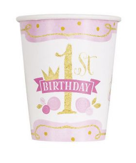 Pink and Gold 1st Birthday Party Cups pk8