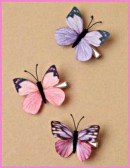 Delicate Fabric Butterfly on Silver Effect Beak Clip