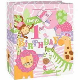 1st Birthday Pink Safari Gift Bag - Medium