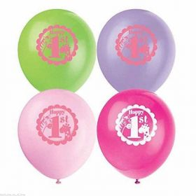 1st Birthday Pink Safari  Balloons 8pk