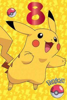 Pokemon Age 8 Birthday Card