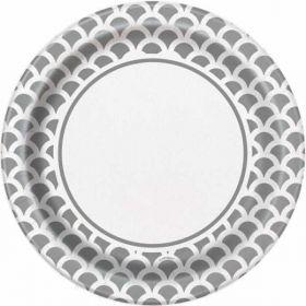 "Silver Scallops 9"" Plates pk8"