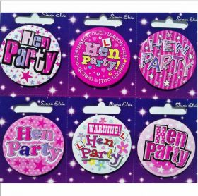 Hen Party Small Badges pk6