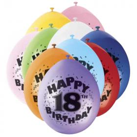 "Happy 18th Birthday Latex Balloons 9"", pk10"