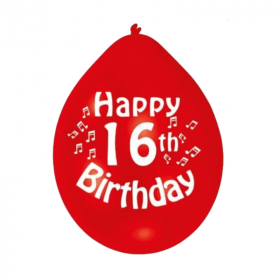 "16th Birthday Latex Balloons 9"""