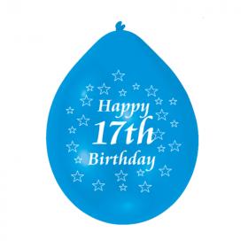 "17th Birthday Latex Balloons 9"""