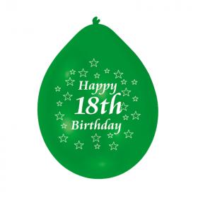 "18th Birthday Latex Balloons 9"", pk10"