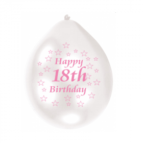 18th White & Pink Birthday Latex Balloons 9""