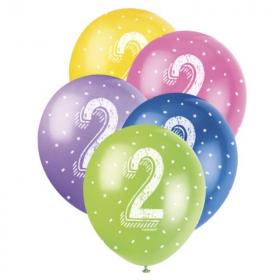 "Age 2 Birthday Latex Balloons 12"""