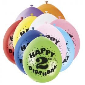 "Happy 2nd Birthday Latex Balloons 9"""