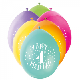 Age 4th Birthday Printed Latex Balloons 9''