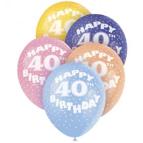 "Age 40 Birthday Latex Balloons 12"""