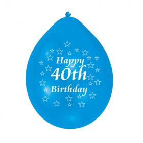 "40th Birthday Latex Balloons 9"", pk10"