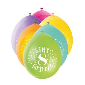"Age 8 Printed Birthday Latex Balloons 9"". pk10"