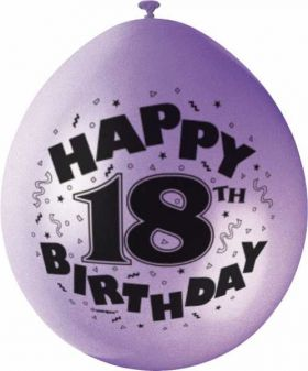 Age 18 Happy Birthday Printed Latex Balloons pk10