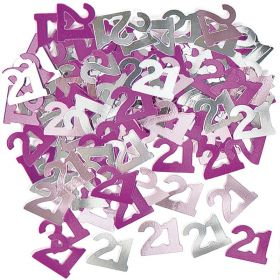 Pink Glitz 21 Party Confetti