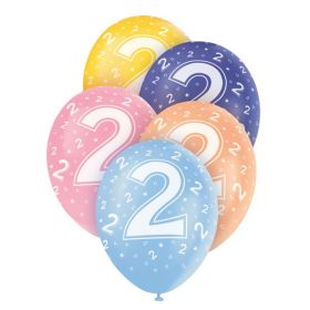 Age 2 Latex Balloons pk5