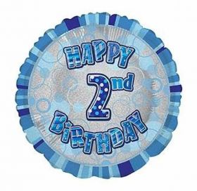 Blue Glitz Happy 2nd Birthday Prismatic Foil Balloon 18in